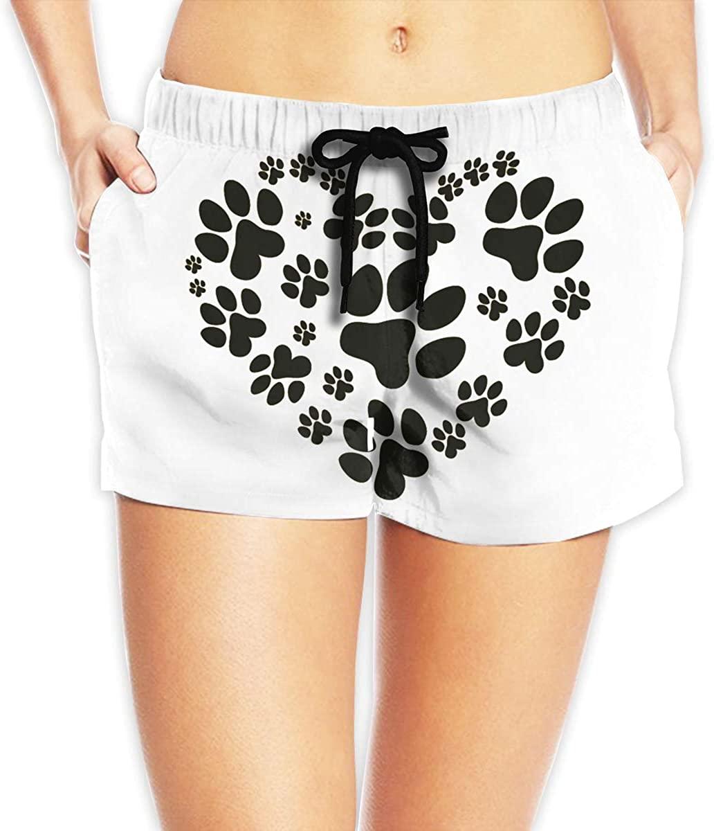 Dog Cat Paw Love Pattern Women's Female Beach Pants Summer Beachwear Board Shorts