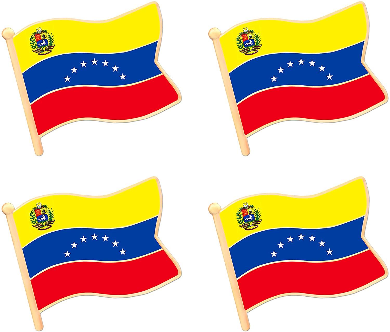 ALEY Venezuela Venezuelan Flag Lapel Pin Decorations (4 Pack)