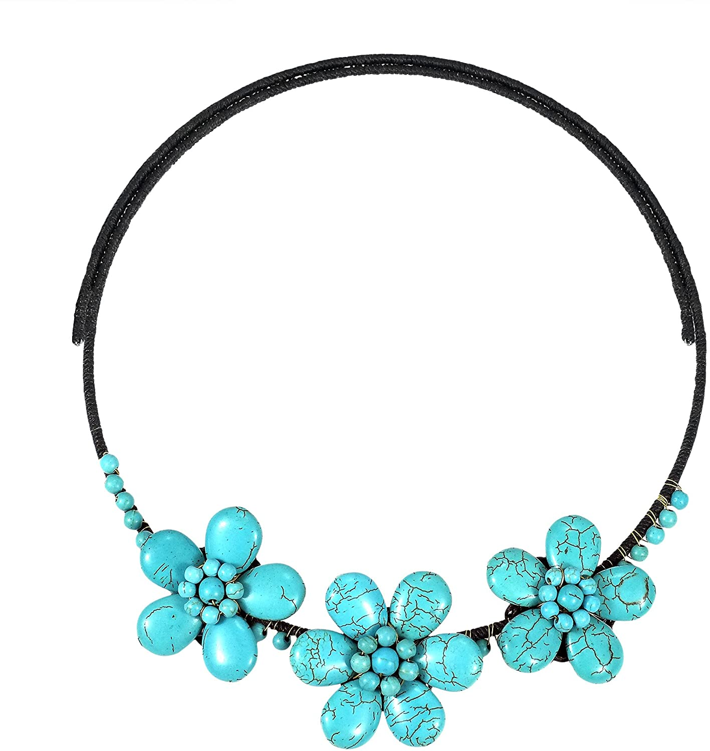 AeraVida Floral Muse Blue Simulated Turquoise Stone Cotton Wax Rope Choker