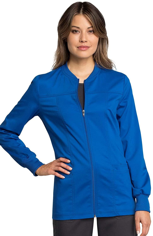 Cherokee Workwear Revolution Tech Zip Front Warm-Up Scrub Jacket, 4XL, Royal