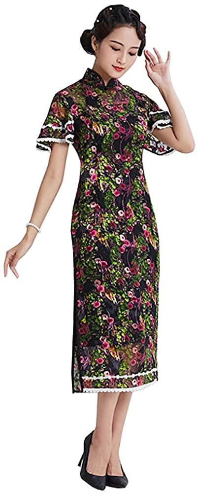 HangErFeng Qipao Dresses Women's Cheongsam Silk Cheongsam Dress Printed Silk Dress Chinese Elements Qipao