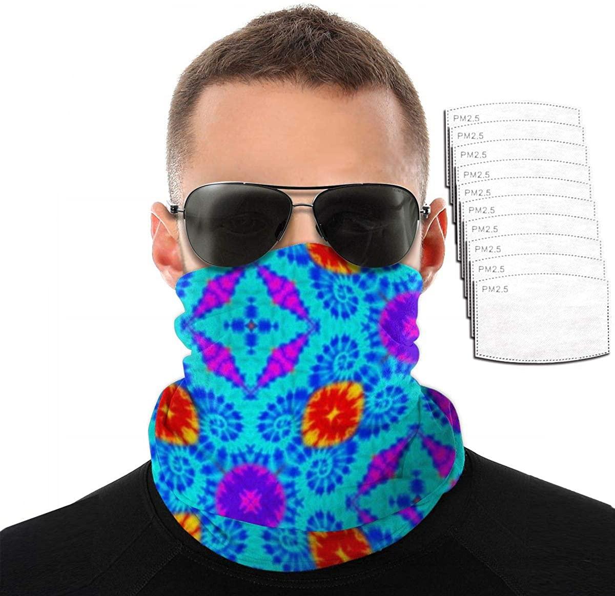 Colorful Tie Dye Vintage Pigment Scarves, face Towels, veils, Masks, Wristbands, Hair Bands, Pirate Hats, Riding Masks