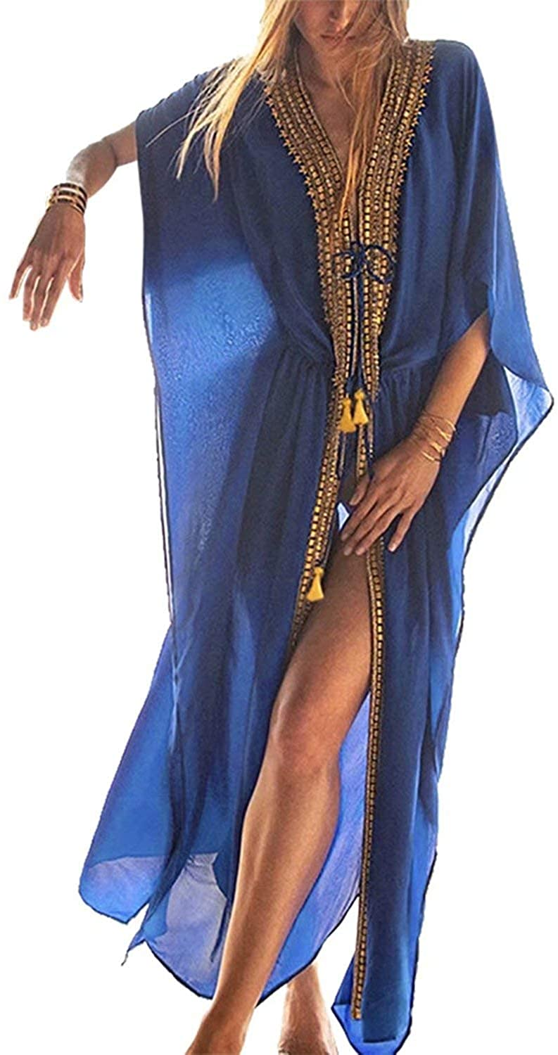 Women Beach Chiffon Caftans Cover Ups Embroidered Loose Turkish Kaftans Robe Beachwear Long Dress