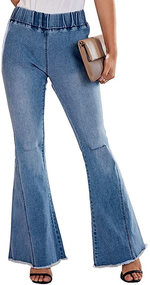 IDEALSANXUN Women's Elastic Waist Stretch Fringe Ripped Flared Bell Bottom Jeans