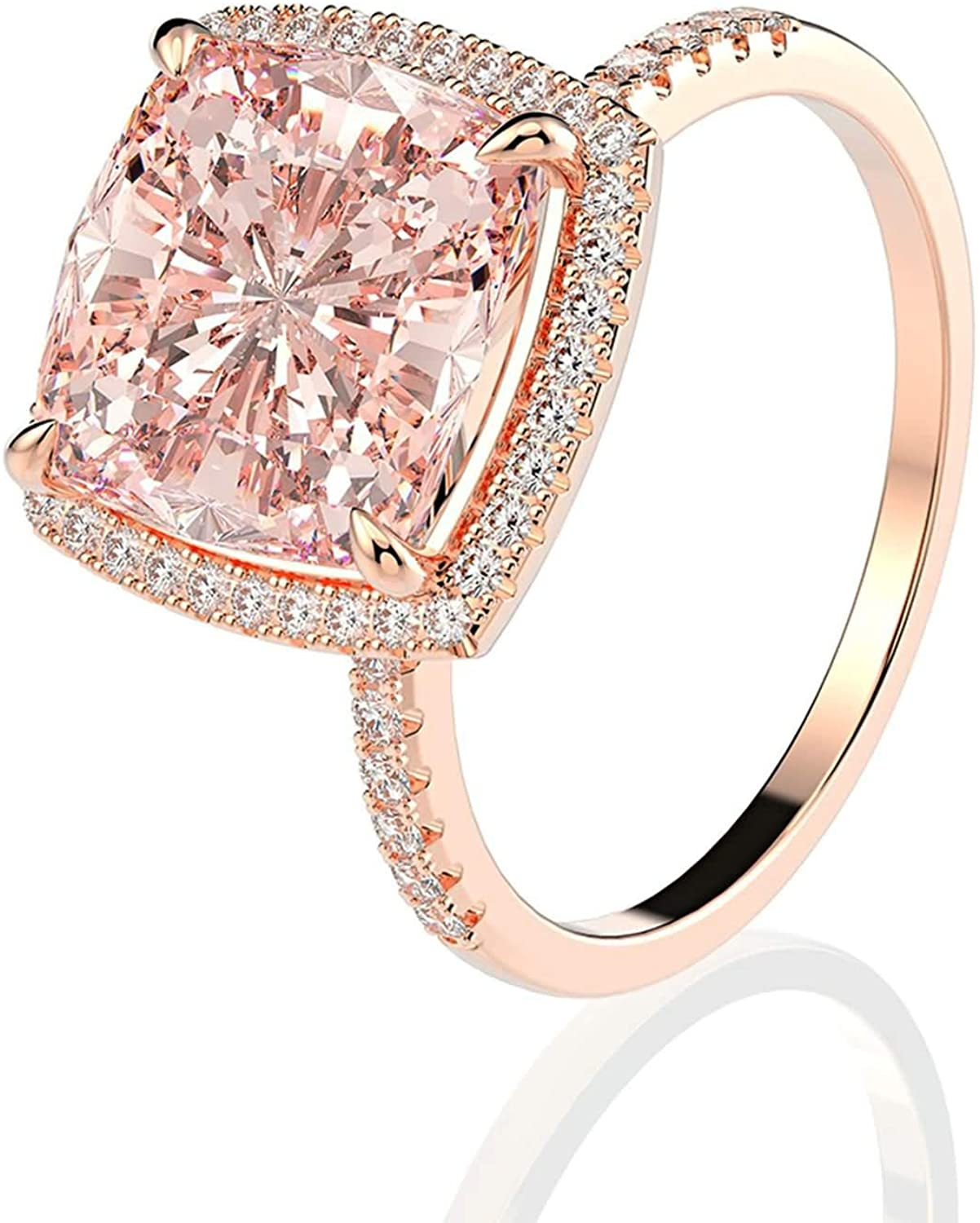 Aeici 925 Engagement Rings Women 4-Prong Cushion Cut Pink Morganite Promise Rings Size 5-9