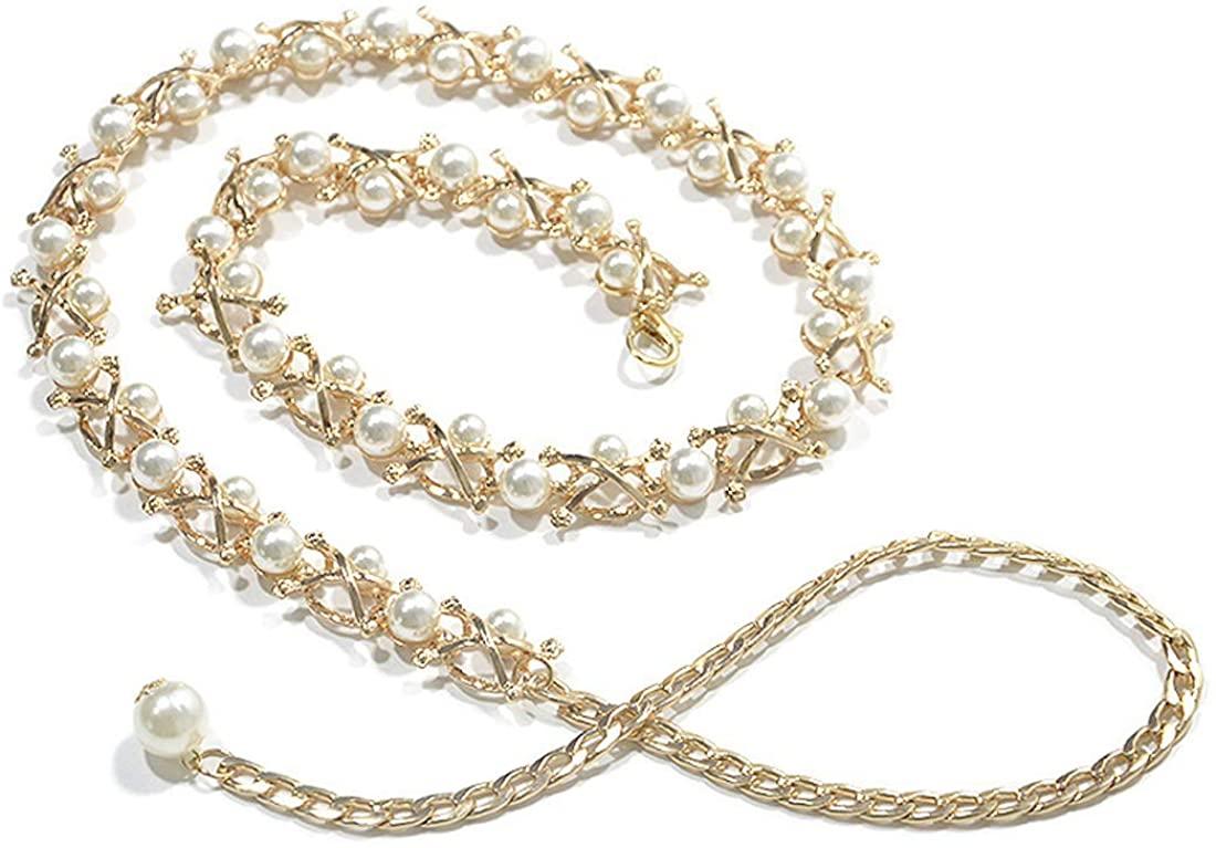 Women's Pearl Waist Chain Metal Waist Chain for Dress Decorative Chain Belt