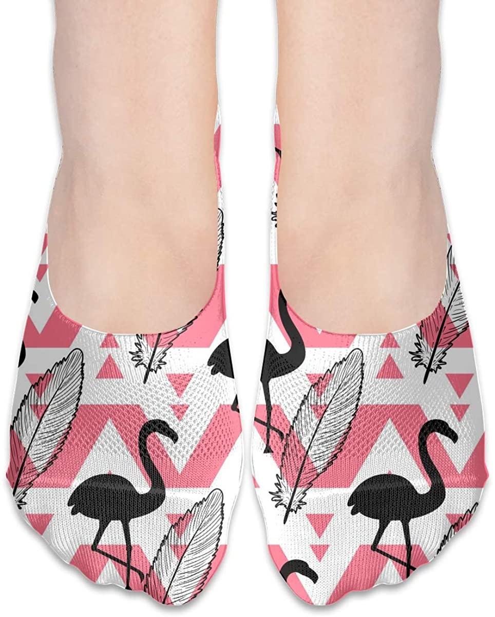 Aztec Tribal Palm Leaf Flamingo No Show Socks Women Low Cut Liner Thin Ankle