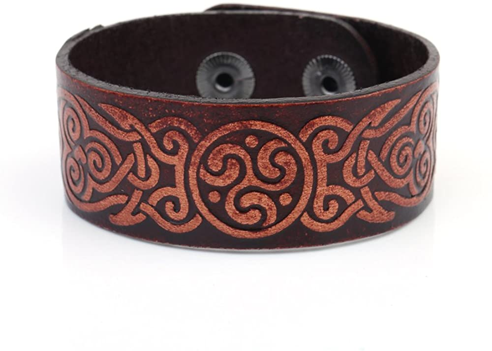 fishhook Vintage Punk Spirals Celtic Trisceli Knot Symbol Double-Clasp Bangle Leather Bracelet