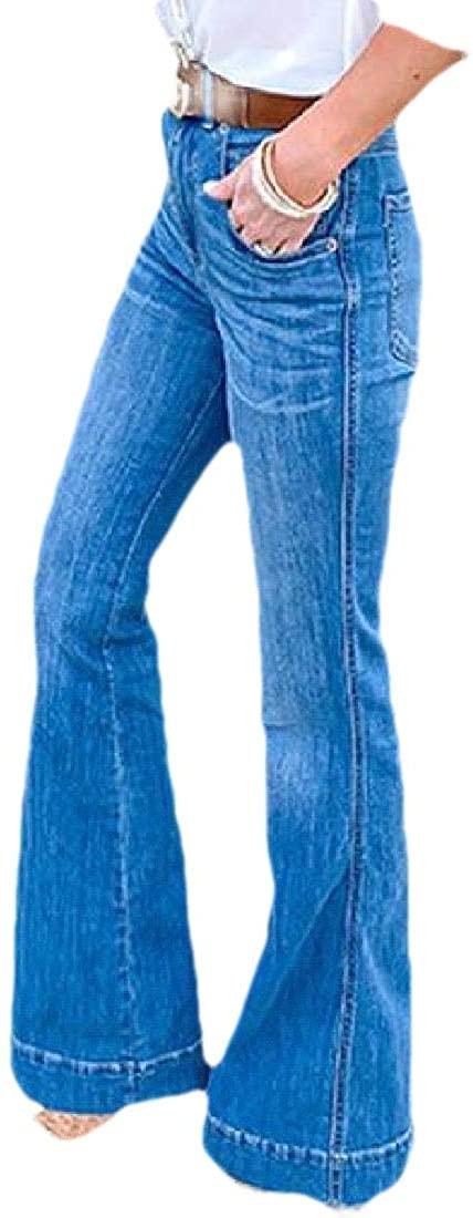 BOBOYU Women Slim Washed Denim Mid Rise Stretchy Bell-Bottom Flare Pants Wide Leg Palazzo Denim Jeans Pants