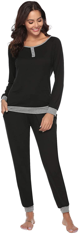 Aibrou Women's Cotton Long Sleeve Pajamas Set Soft Sleepwear Loungewear