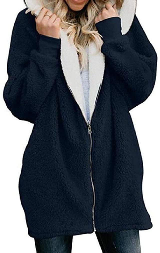 YYear Womens Zip Front Sherpa Lined Comfy Fall Winter Hoodie Warm Sweatshirt Jacket Coat Outerwear