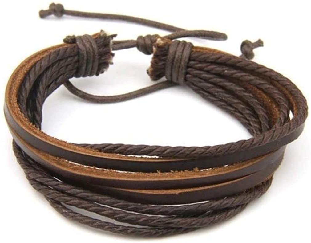 CosMos777 Hand-Woven Fashion Jewelry Leather Braided Rope Wristband Wrap Multilayer Bracelets &