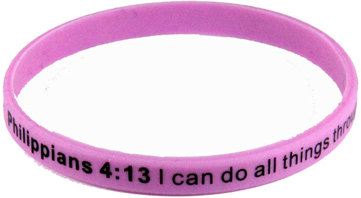 8240006 Set of 3 Philippians 4:13 I Can Do All Things Thin Silicone Bracelet Band 6mm Child Size