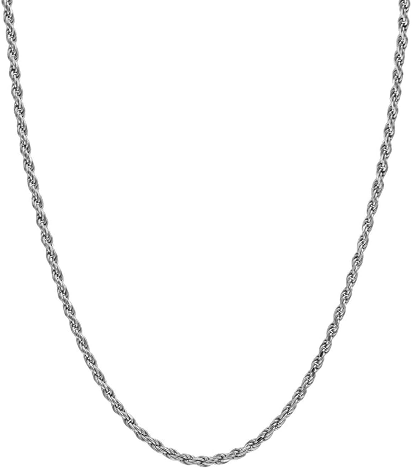 Hollywood Jewelry 2mm Diamond Cut Box Round Rope Chain Necklace22X More Real 14k Gold Plating Than Other Necklaces - with Free Lifetime Replacement Guarantee. USA Made