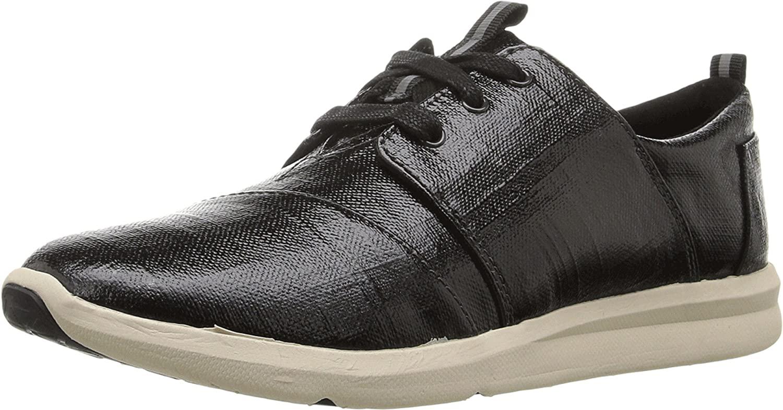 TOMS Women's Black Patent Linen Del Rey Sneaker 10008885