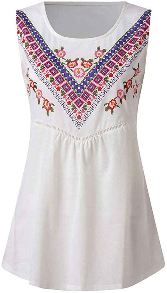 LENXH Ladies Summer Blouse Solid Color T-Shirt Casual Print Blouse Openwork Vest Fashion Sleeveless Blouse