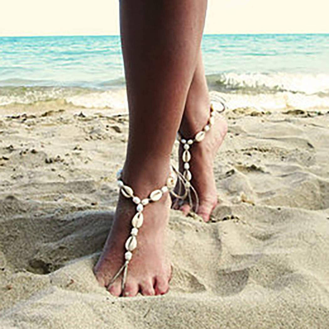 Jeairts Boho Sea Shell Barefoot Sandals Pearls Anklets Beach Foot Jewelry for Women and Girls(Pack of 1)