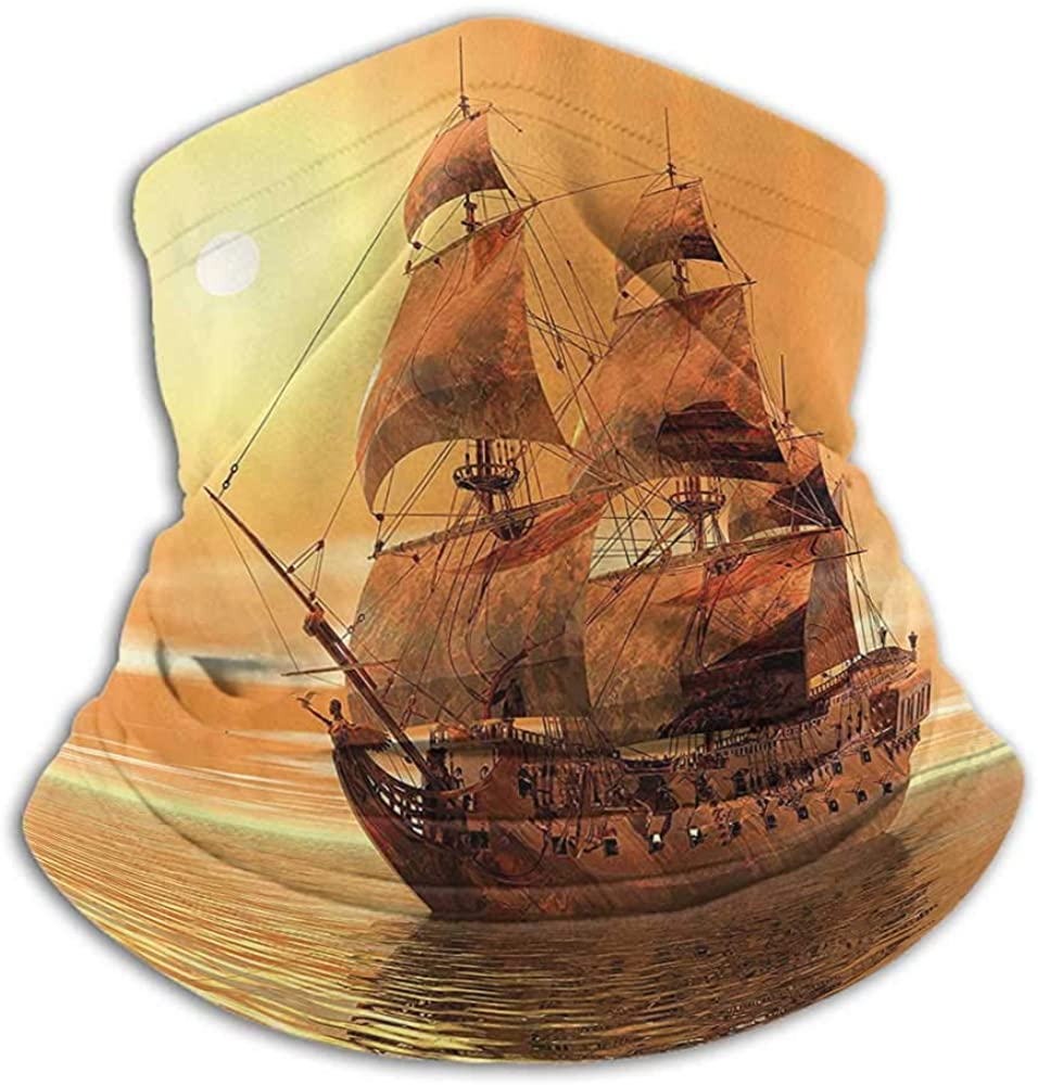 Hair Scarf Ancient Unisex Anti-Dust Washable Ocean Sealife Wavy Pirate Ship Sailing in a Glass Water Image Redwood Marigold and Light Yelow