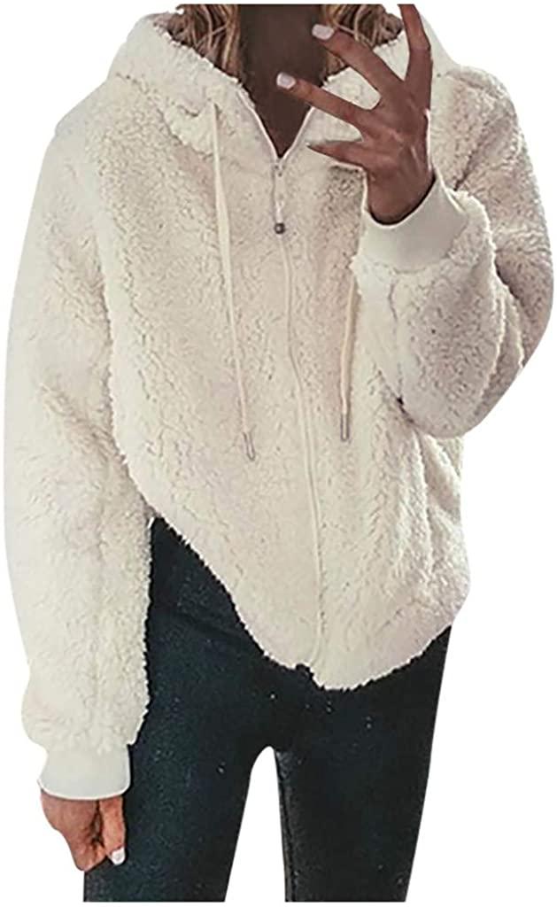 Pandaie Womens Winter Fleece Jacket Thicken Warm Pullover Hoodie Sweatshirt Hooded Jacket Coat