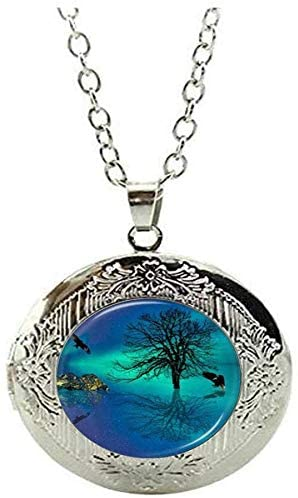 Northern Lights Tree of Life Locket Necklace - Eagle Ocean Reflection Jewelry