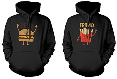 365 Printing Burger and Fries BFF Hoodies Best Friend Matching Pullover Hooded Sweatshirts