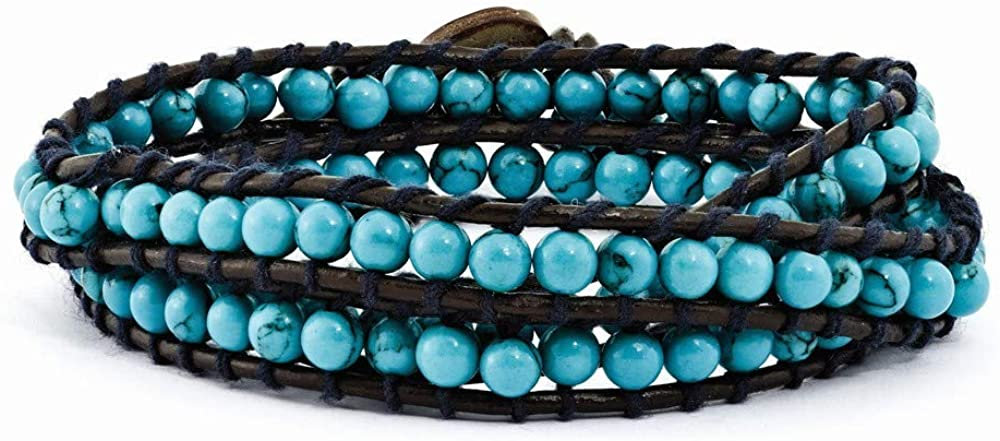 4mm Dyed Simulated Turquoise Wood Button Leather Cord Multi Wrap Bracelet Jewelry Gifts for Women