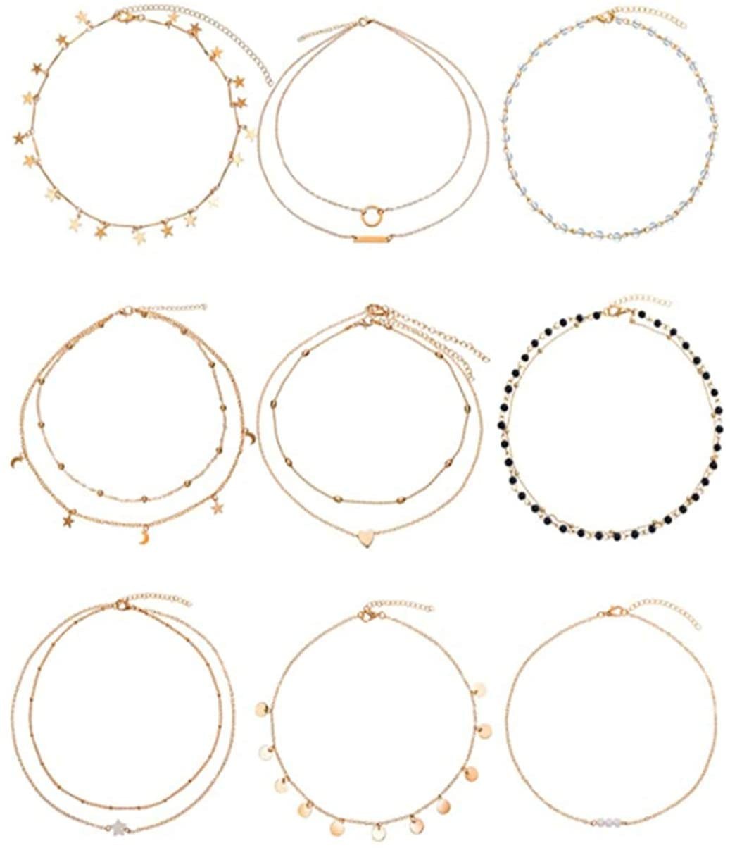 SEVENHOPE 9PCS Women's Jewerly Set - Multiple Styles Necklace - Simple Pendant Choker Dainty Chain Short Necklace,Women Girlfriend Daughter Gift