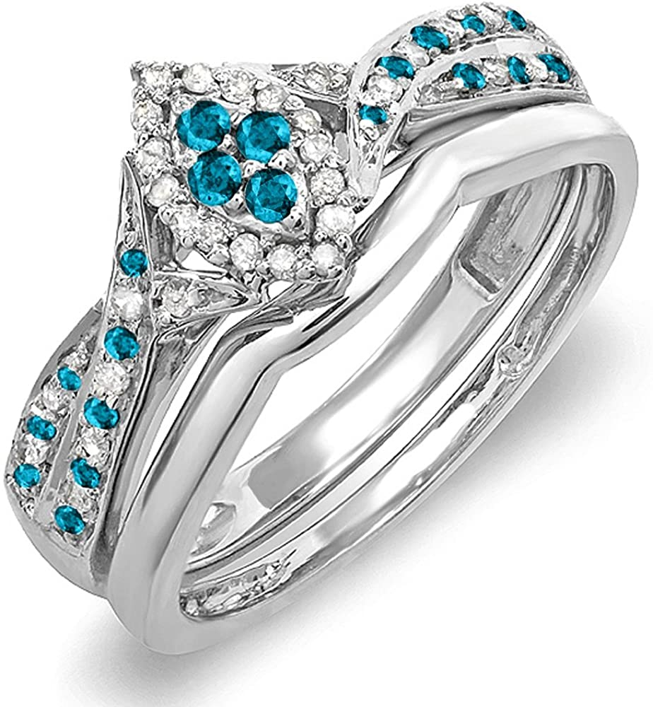 Dazzlingrock Collection 0.33 Carat (ctw) Round Blue & White Diamond Marquise Shape Engagement Ring Set 1/3 CT, Sterling Silver