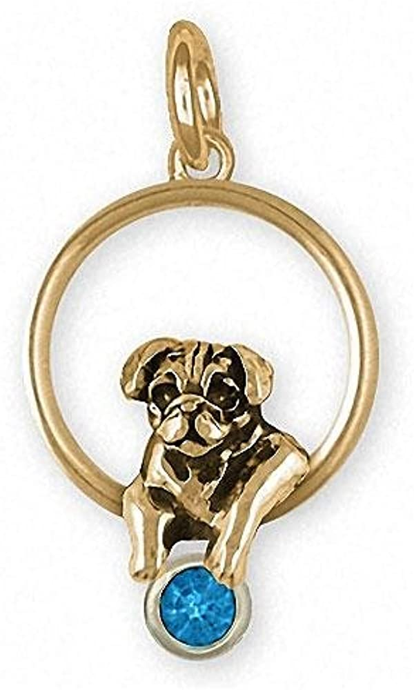 Pug Charm Jewelry 14k Gold Handmade Dog Charm PG46-SCG