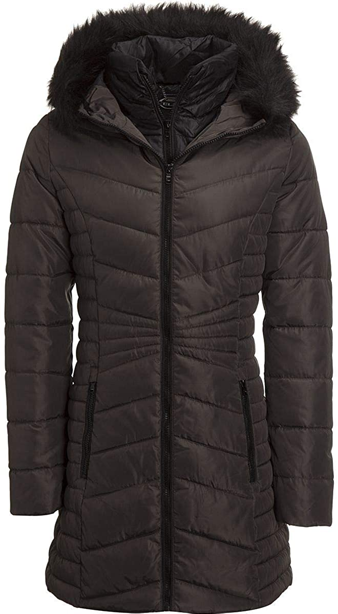 Celsius Faux Fur Hooded Quilted Insulated Jacket - Women's Steel, S