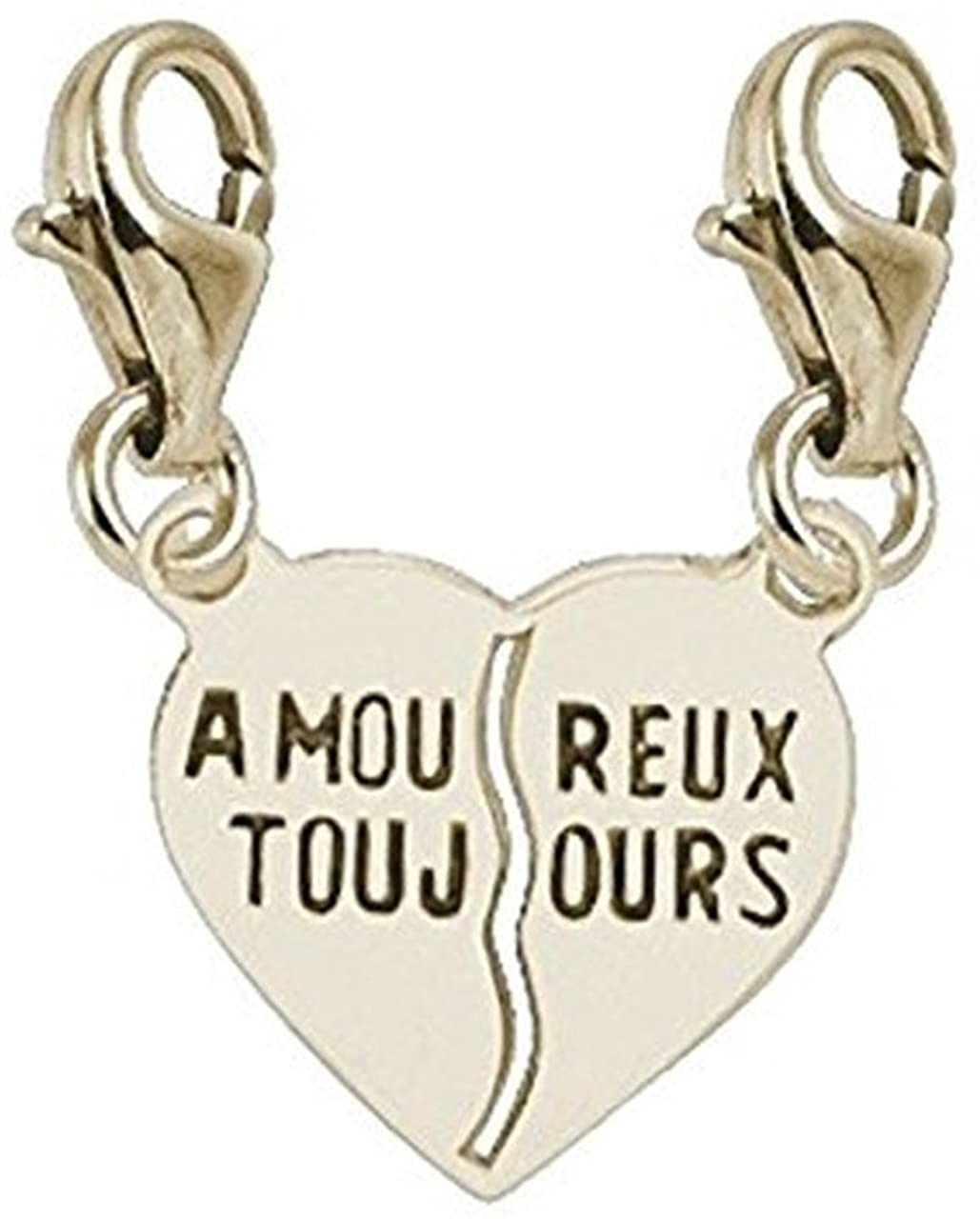 10k Yellow Gold Amoureux Toujours Charm With Lobster Claw Clasp, Charms for Bracelets and Necklaces