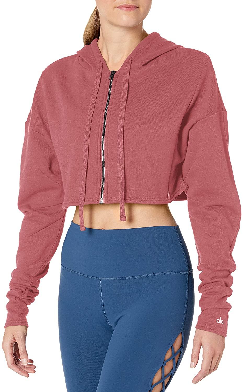 Alo Yoga Women's Cropped Sweatshirt, Rosewood, Small