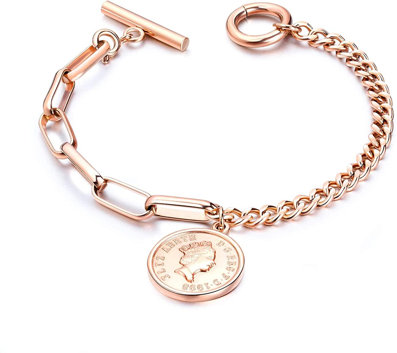 USUASI Fashion Womens Retro Avatar Round Card Bracelet Titanium Steel Rose Gold Ms Bracelet Elizabeth Coin Jewelry