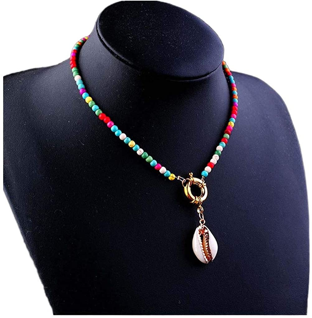 Yalice Shell Pendant Necklace Chain Beaded Choker Necklaces Boho Jewelry for Women and Girls