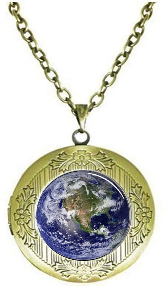 Earth Locket Necklace Showing North America, Photo Locket Necklace