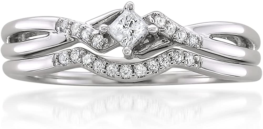 10k White Gold Princess-cut & Round Diamond Engagement Bridal Set Wedding Ring (1/5 cttw, H-I, I1-I2)