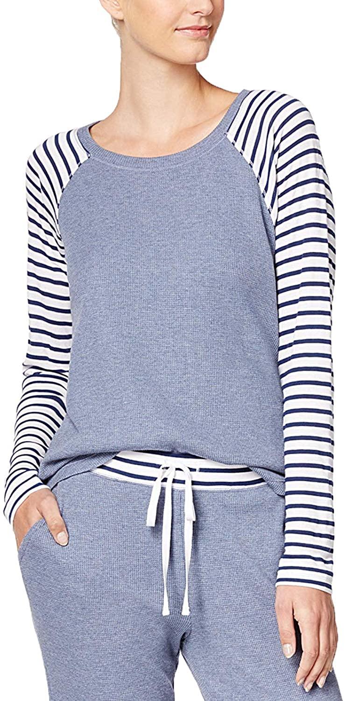 Alfani Women's Striped-Sleeve Thermal Pajama Top, Worn Denim Heather, XXX-Large
