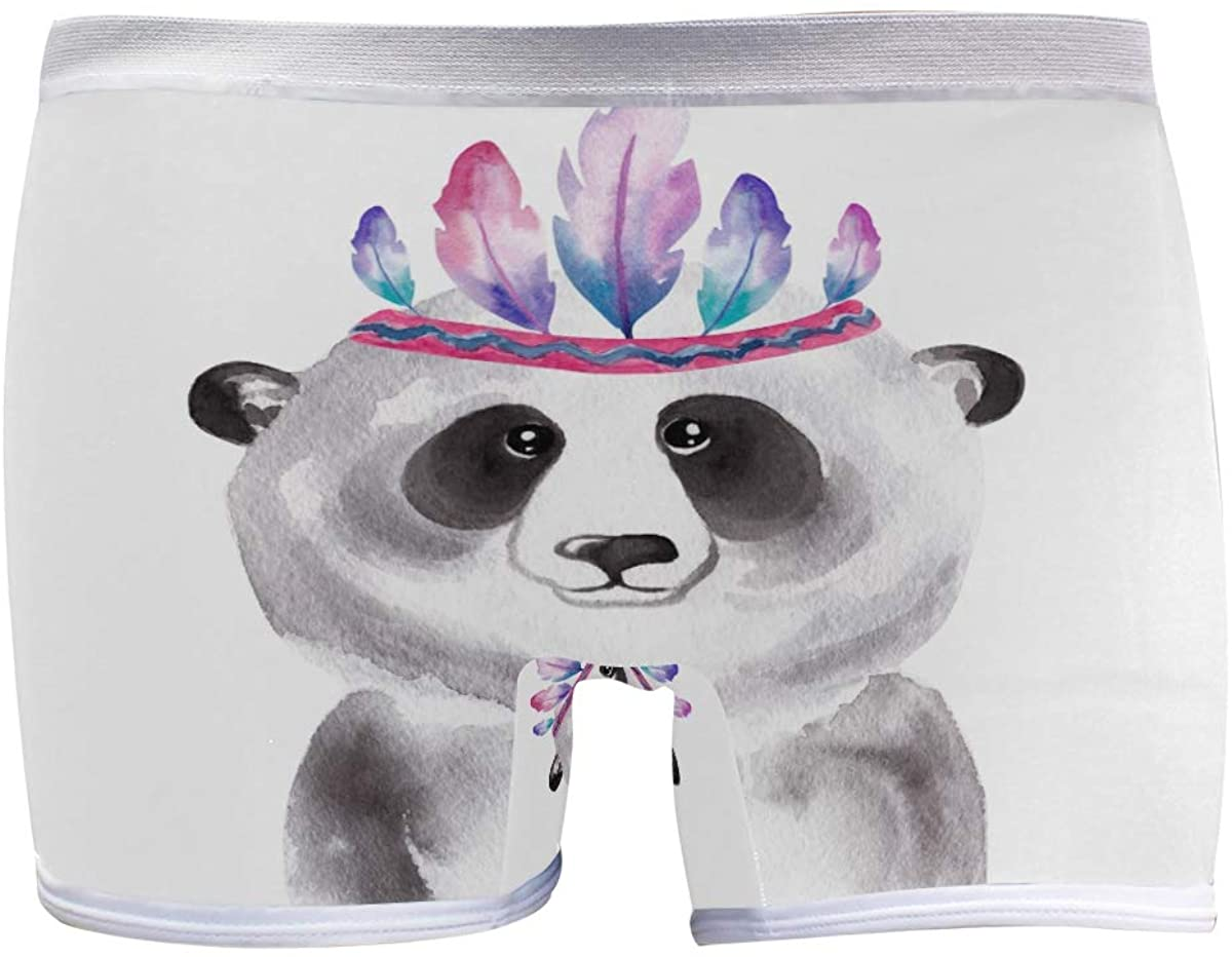 SLHFPX Womens Hipster Panties Underwear Watercolor Bear with Feather Decoration Ladies Breathable Boxer Briefs Panty