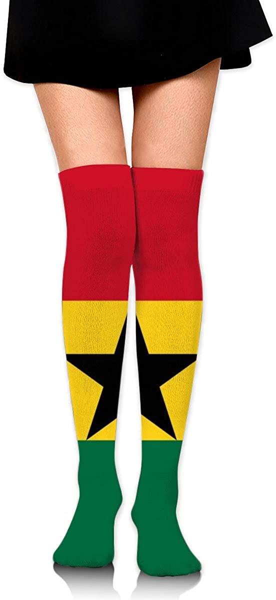 Dress Socks Striped Flag Of Ghana Long Knee Hose Novelty Hold-Up Stockings
