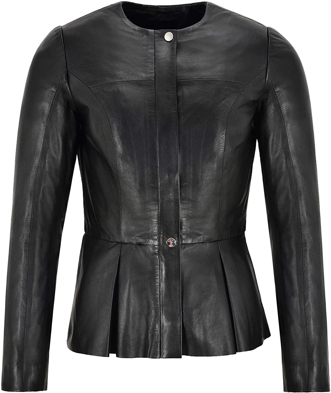 Daniella Ladies Pleated Broome Fashion Lambskin Leather Jacket Raw Edges Style