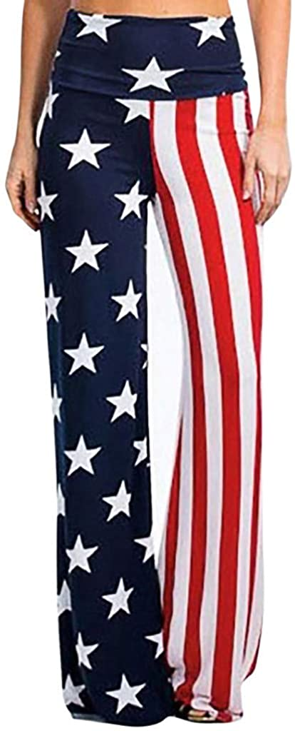 Adeliber Women's Trousers Summer High Waist American Flag Wide leg Pants Leggings Loose Trousers Sweatpants