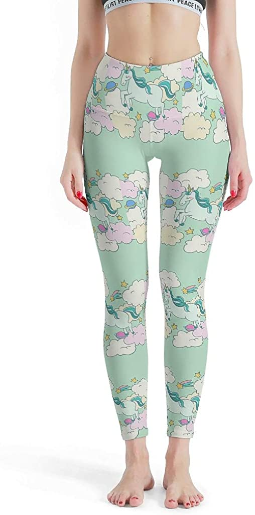 Womens Cloud Unicorn Planets Stars Green Print Leggings High Waist Yoga Capris Stretch Tights for Women