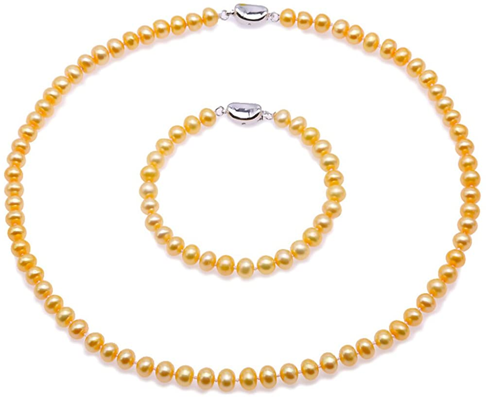 JYX Pearl Necklace Set AA+ 6-7mm Golden Flat Round Freshwater Pearl Necklace Bracelet and Earrings Set