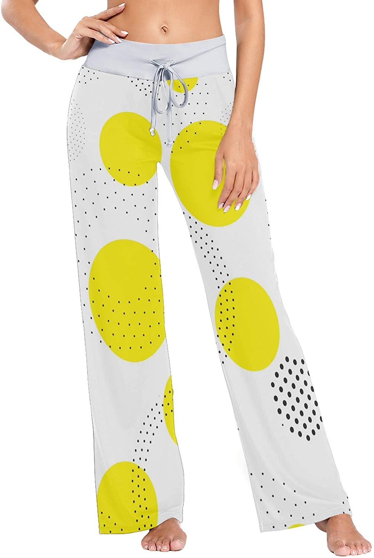 Womens Wide Leg Pajama Pants Casual Comfy Drawstring Sleep Trousers XS Circles Figure in Black White Yellow