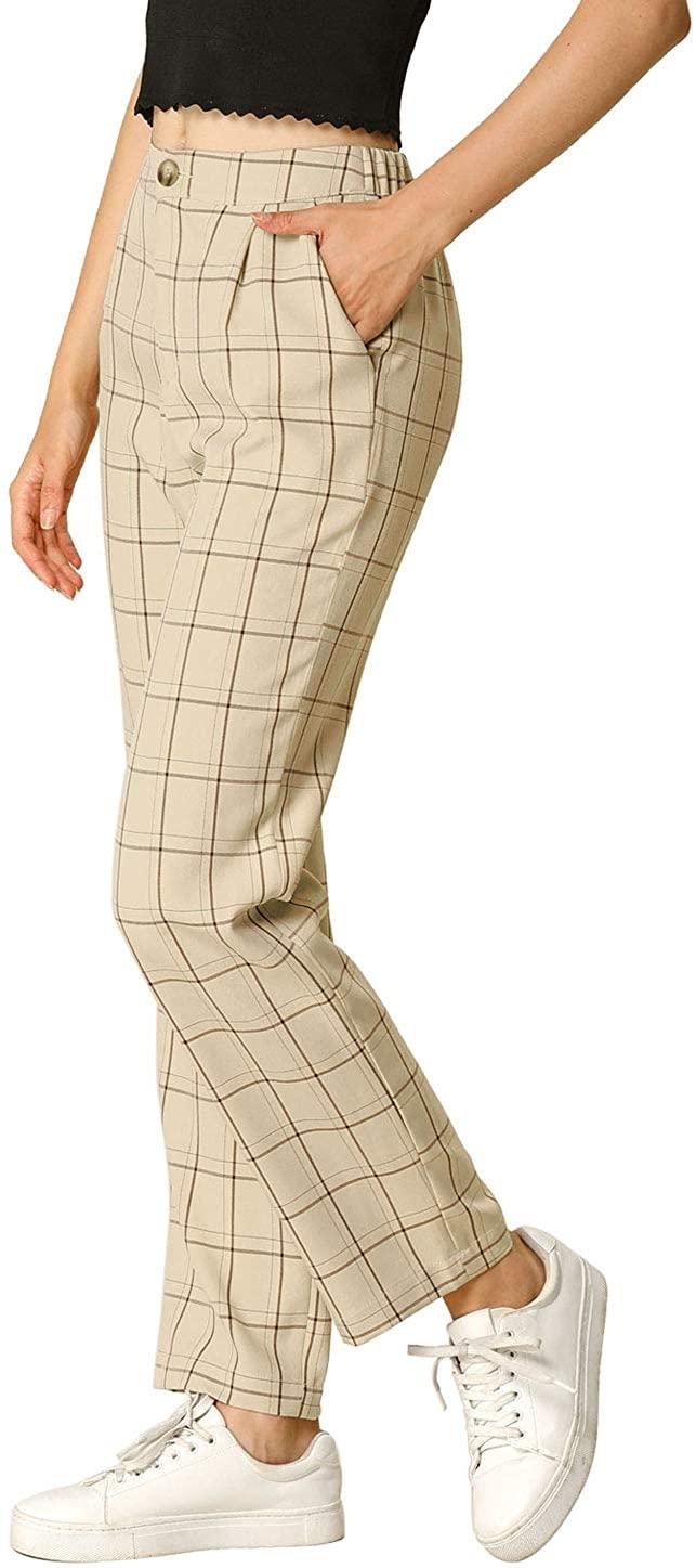 Allegra K Women's Plaid Pants Elastic Waist Casual Work Office Long Trousers