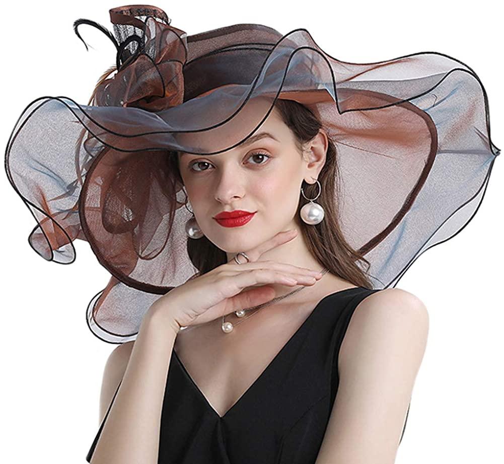 Itopfox Women's Organza Church Hat - Kentucky Derby Hat for Women Floral Ruffel Tea Party Wedding Fascinators Hat