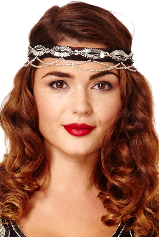 Shirley Dropbeads Vintage Inspired Headband Black Silver