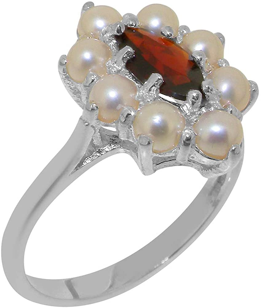 Solid 9k White Gold Natural Garnet & Cultured Pearl Womens Cluster Ring - Sizes 4 to 12 Available