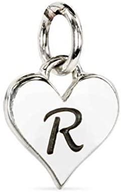 Sterling Silver Script 'R' Alphabet Heart Charm 12x8mm - 1 Pc (11560)/1