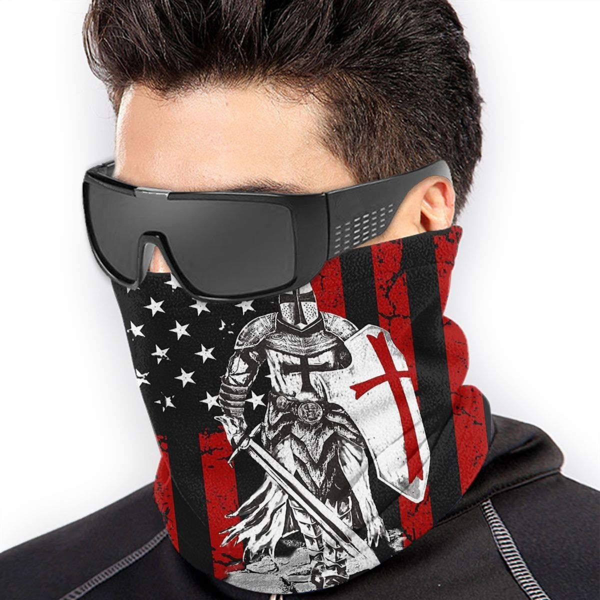 Neck Warmer Windproof Mask Neck Gaiter Knight Templar Crusader Warrior American Flag Warmer Balaclavas Headwear Bandana Multifunctional Head Scarf Free UV Face Mask For Women Man 2020